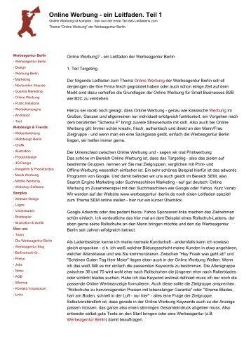 Online Werbung - ein Leitfaden. Teil 1 - Werbeagentur Berlin