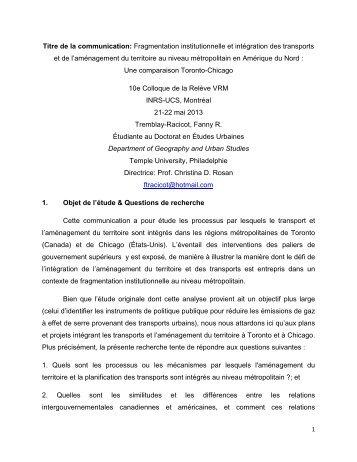 Titre de la communication: Fragmentation institutionnelle et ... - VRM