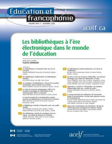 Éducation et francophonie, vol. XXVI, n o 2, automne-hiver 1998 - acelf