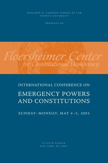 Emergency Powers invite - Benjamin N. Cardozo School of Law