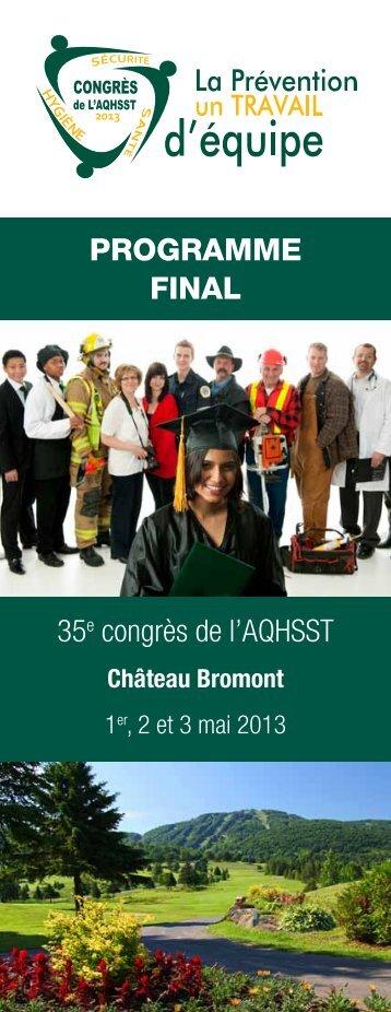 PROGRAMME FINAL 35e congrès de l'AQHSST
