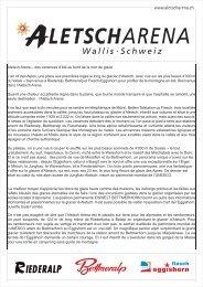 communiqués de presse été - Aletsch Arena