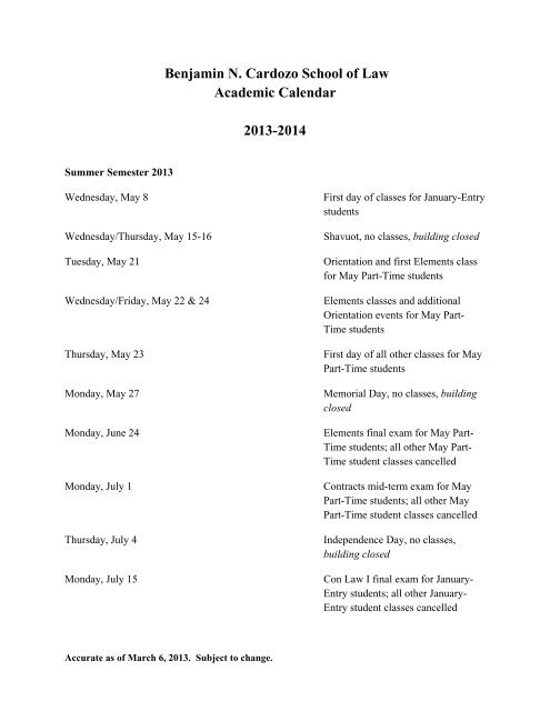 Cardozo Academic Calendar Fall 2021 Wallpaper