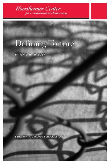Defining Torture - Benjamin N. Cardozo School of Law - Yeshiva ...