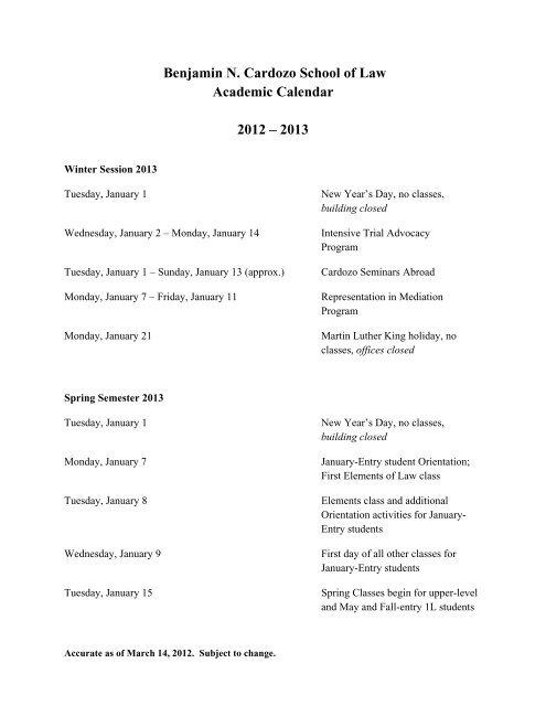 Cardozo Academic Calendar Fall 2021 Photos