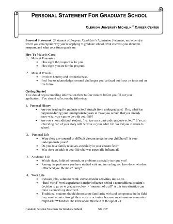Sample Personal Statements Graduate School   Personal Statement
