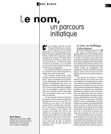 Anny Bloch - Revue des sciences sociales