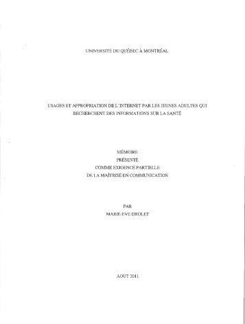 Usages et appropriation de l'Internet par les ... - Archipel - UQAM