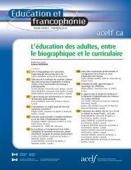 Éducation et francophonie, vol. XXXVIII, n o 1, printemps 2010 - acelf