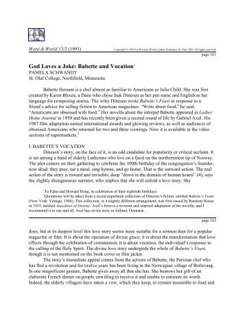 Download Article PDF - Word & World - Luther Seminary