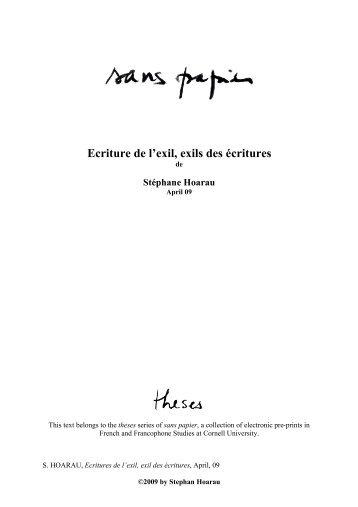 Ecritures de l'exil, exil des écritures - College of Arts and Sciences ...