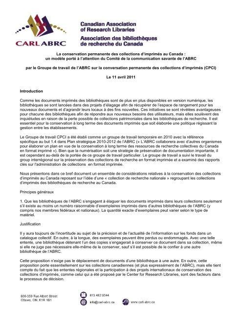 La Conservation Permanente Des Collections D Carl Abrc