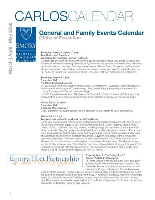 Emory Calendar.Carlos Calendar Michael C Carlos Museum Emory University