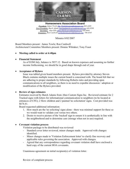 Homeowners Association Board Minutes 8/02/2007 Board Members