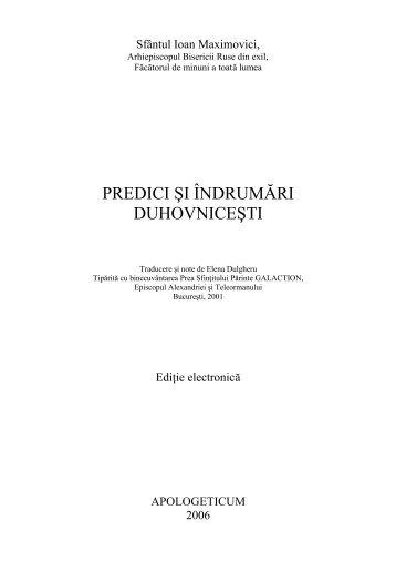 Sf. Ioan Maximovici, Predici si indrumari ... - Tineretul Ortodox