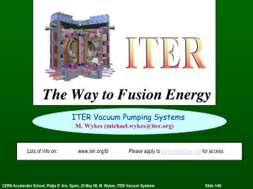 ITER Vacuum Pumping Systems - CERN Accelerator School