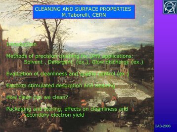 Surface Properties and Cleaning - CERN Accelerator School