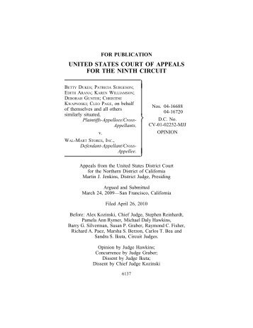 Dukes v. Wal-Mart Stores, Inc. - Ninth Circuit Court of Appeals
