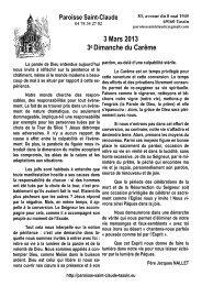 3 Mars 2013 3e Dimanche du Carême - Paroisse Saint-Claude de ...