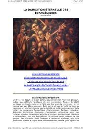 la damnation éternelle des évangéliques - Documents bibliques
