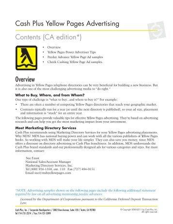 Overview Cash Plus Yellow Pages Advertising ... - Cash Plus, Inc.