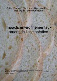 Impacts environnementaux de l'alimentation, en amont du ...