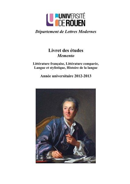 Memento Departement De Lettres Modernes Universite De Rouen
