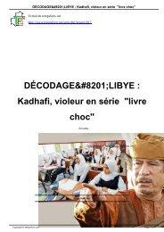 DÉCODAGELIBYE : Kadhafi, violeur en série ... - Temps Forts