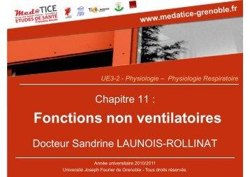 Fonctions non ventilatoires - Université Virtuelle Paris 5