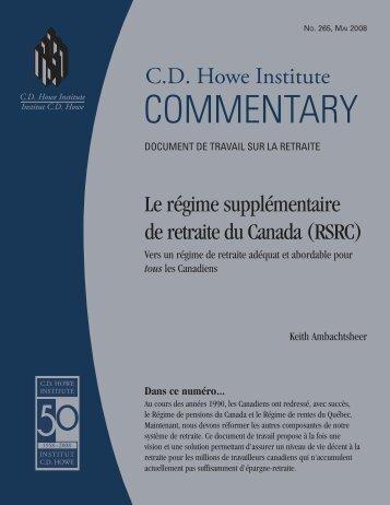 Le régime supplémentaire de retraite du Canada - CD Howe Institute