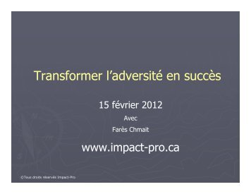 Transformer l'adversité en succès - MAPAQ