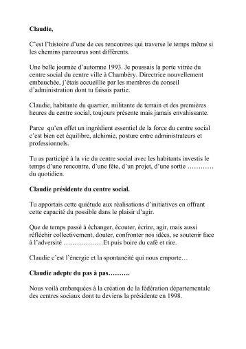 Présentation de Claudie Miller par Patricia Goutelle - Fédération des ...