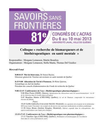 Programme - Institut universitaire en santé mentale de Québec