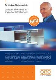 WDK-Kanäle mit praktischer Oberteilklammer - OBO Bettermann