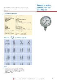 Manomètres basses pressions, tout inox Série 2020 sec - Citec