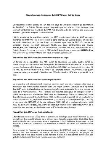 Résumé analyse des Lacunes du RAMPAO pour Guinée Bissau