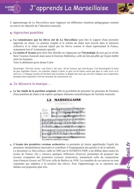 J'apprends La Marseillaise - Académie de Créteil