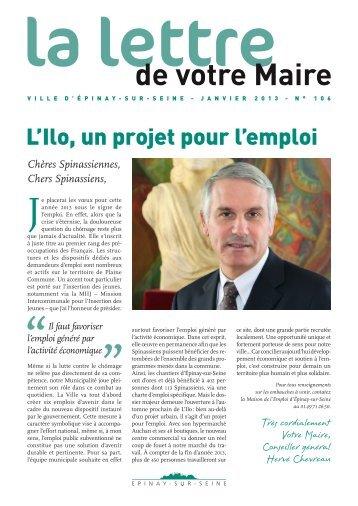 Lettre du Maire d'Epinay janvier 2013 - L'ilo