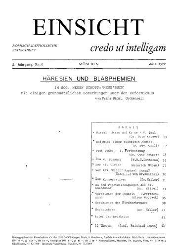 2. Jahrgang, Heft 4 (Juli 1972) - CatholicaPedia