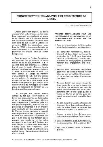 Principes éthiques adoptés par les membres de l'ECIA - ABD-BVD