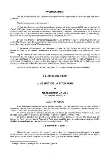 LA PEUR DU PAPE ou LE MOT DE LA SITUATION ... - CatholicaPedia