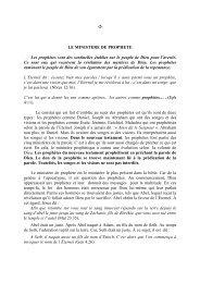 -2- LE MINISTERE DE PROPHETE Les prophètes sont ... - Mevar.org