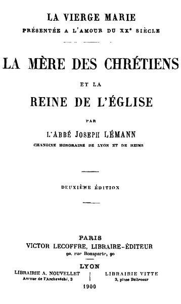 La Mère des chrétiens et la Reine de l'Église - Livres mystiques