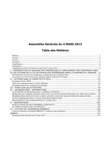 AG du 4 mars 2013 - CCI Nice Côte d'Azur