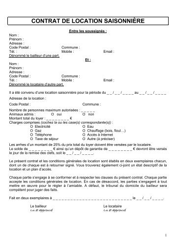 Contrat De Location De Meubles De Tourisme Saisonnier   Contrat Location  Saisonniere Meuble .