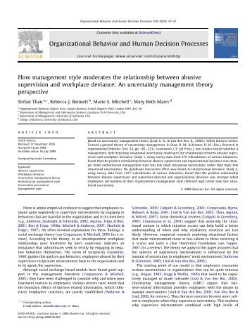 human behavioral organization report Organizational behavior and human decision processes publishes fundamental research in organizational behavior, organizational psychology, and human.