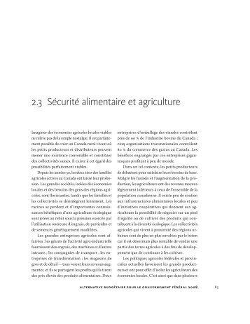 2.3 Sécurité alimentaire et agriculture
