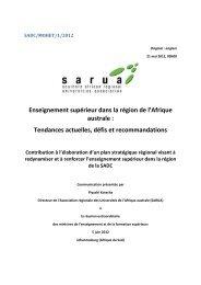 Enseignement supérieur dans la région de l'Afrique australe ... - sarua