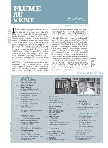 Edition de février 2013 (N° 370) - Societe de Lecture Geneve