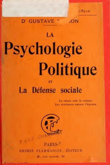 La psychologie politique et la défense sociale - EACH